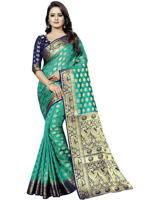 Embellished Kanjivaram Cotton Silk Green Saree