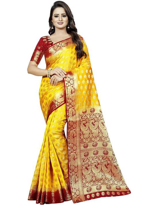 Embellished Kanjivaram Cotton Silk Yellow Saree