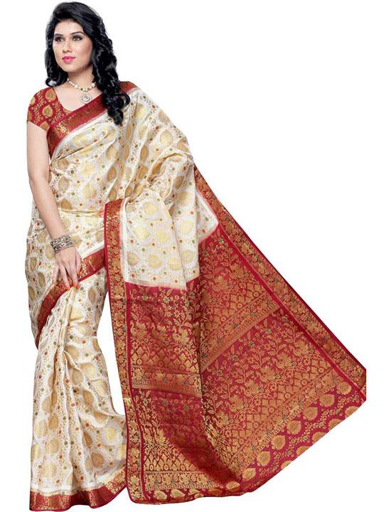 Embellished Kanjivaram Handloom Art Silk White Saree