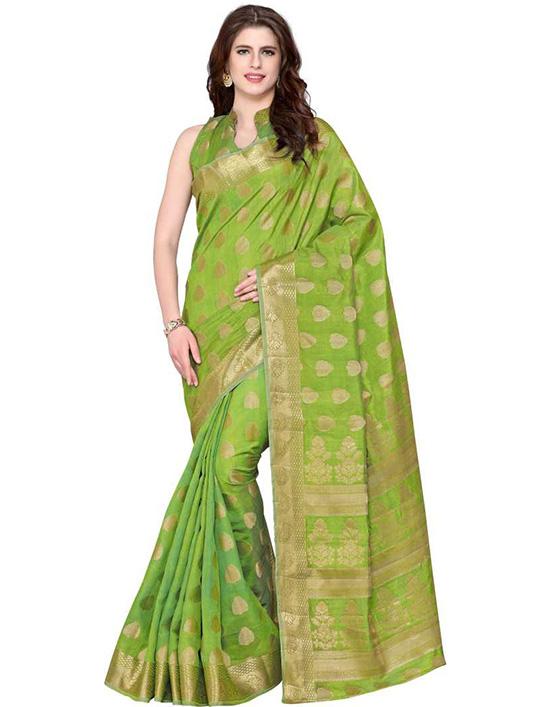 Embellished Kanjivaram Tussar Silk Green Saree