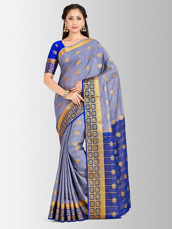Embellished Mysore Silk Lavender & Gold Saree