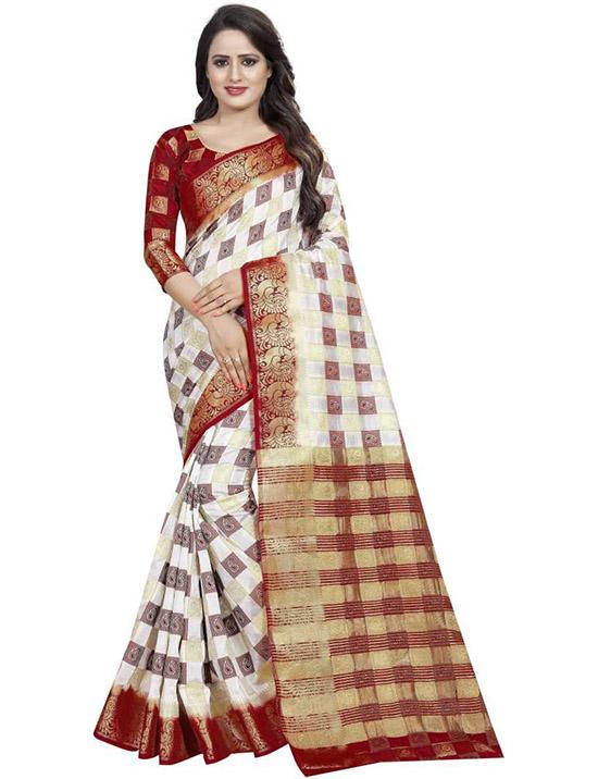 Embellished Patola Cotton Silk White Saree