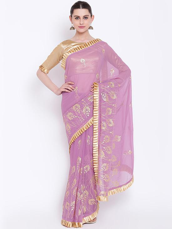 Embellished Poly Georgette Lavender Saree