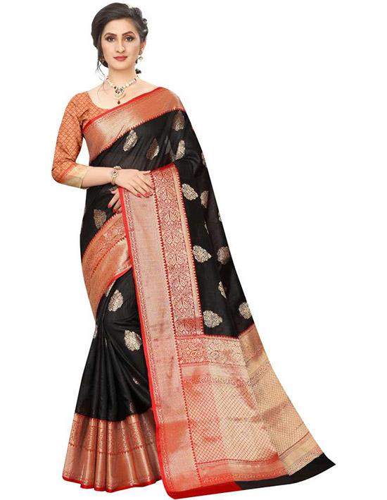Embellished Tanchoi Jacquard, Art Silk Black Saree