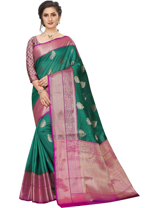 Embellished Tanchoi Jacquard, Art Silk Green Saree