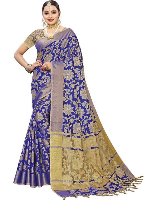 Embellished, Woven Kanjivaram Silk Blend, Jacquard Blue Saree