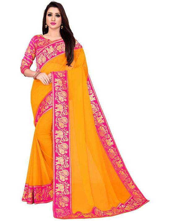 Embellished, Woven, Plain Bollywood Chiffon Yellow Saree