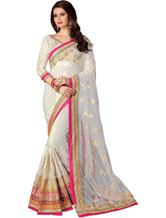 Embroidered, Applique Bollywood Georgette, Net White Saree