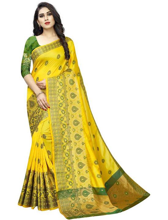 Embroidered Banarasi Art Silk, Cotton Silk Yellow Saree