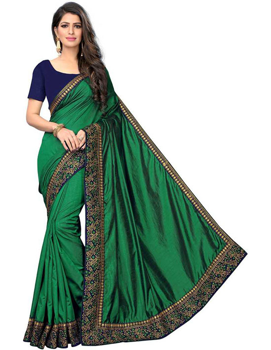 Embroidered Bollywood Cotton Silk Green Saree