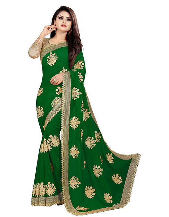 Embroidered Bollywood Georgette Green Saree