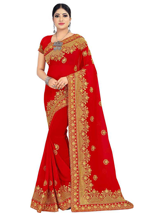 Embroidered Bollywood Georgette Red Saree