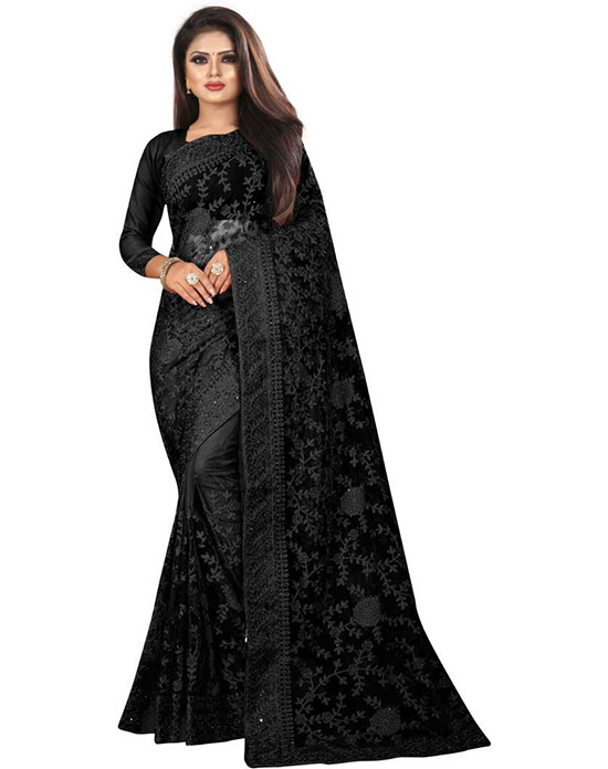 Embroidered Bollywood Net Black Saree