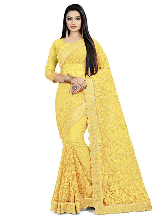Embroidered Bollywood Net Yellow Saree