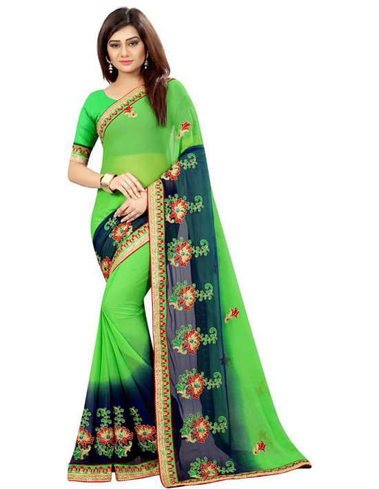 Embroidered Bollywood Poly Georgette Green Saree