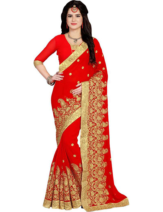 Embroidered Bollywood Poly Georgette Red Saree