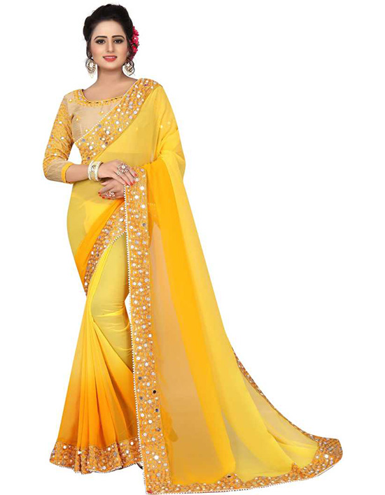 Embroidered Bollywood Poly Georgette Yellow Saree