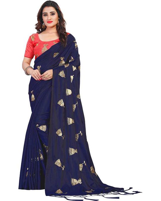 Embroidered Bollywood Poly Silk Blue Saree