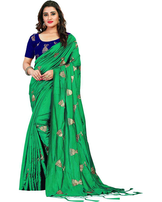Embroidered Bollywood Poly Silk Green Saree