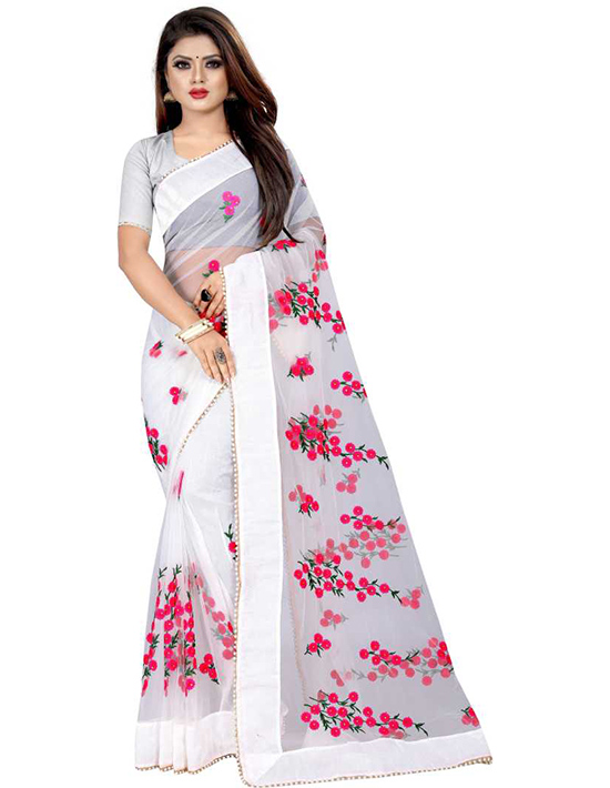 Embroidered Daily Wear Net White Saree