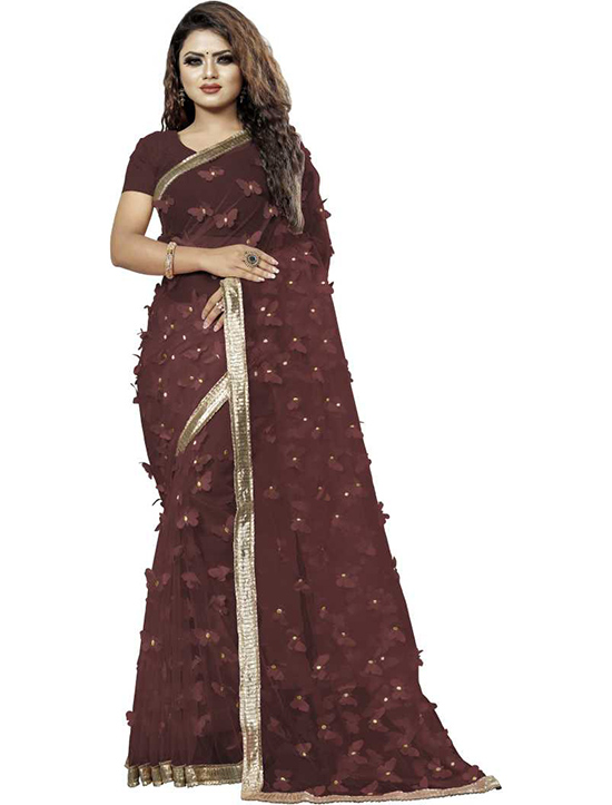 Embroidered, Embellished Fashion Cotton Blend Brown Saree