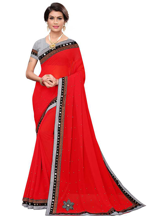 Embroidered, Embellished Fashion Poly Georgette Red Saree