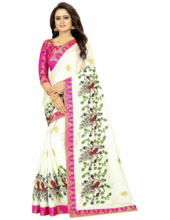 Embroidered Fashion Art Silk White Saree