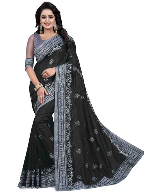 Embroidered Fashion Chiffon Black Saree