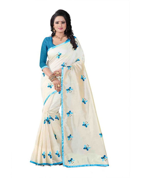 Embroidered Fashion Cotton Blend White Saree