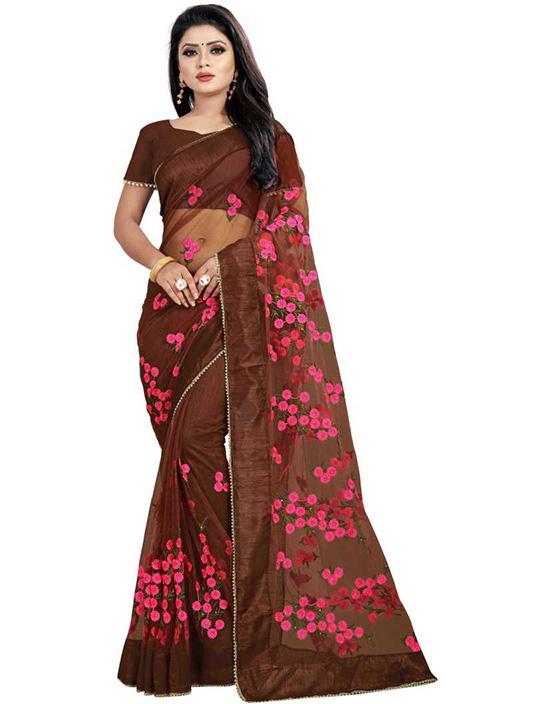 Embroidered Fashion Net Brown Saree