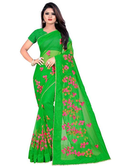 Embroidered Fashion Net Green Saree