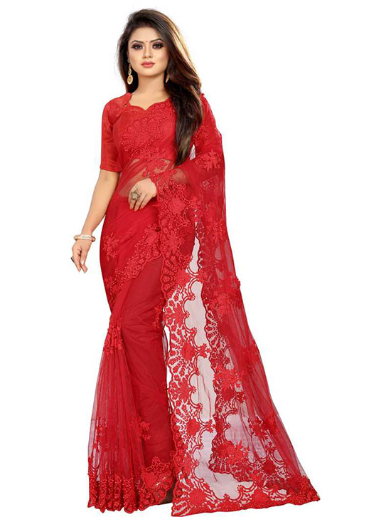 Embroidered Fashion Net Red Saree