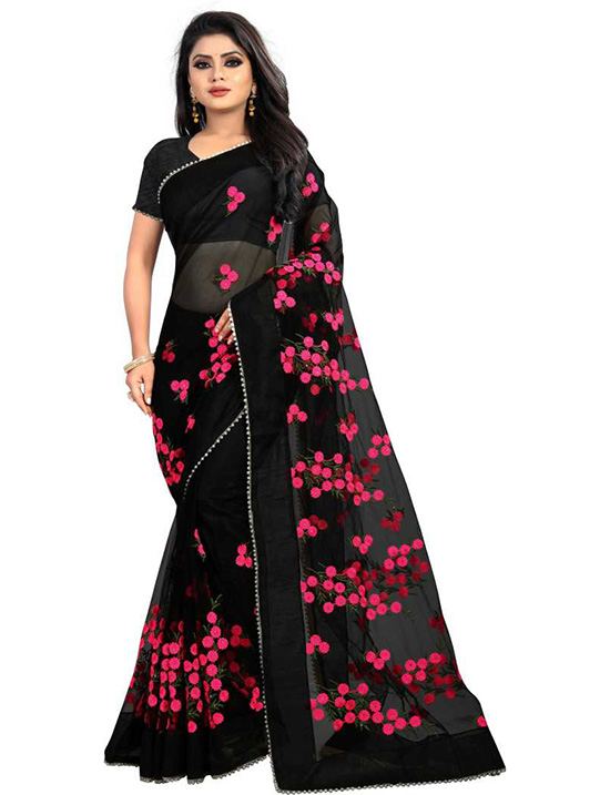 Embroidered Fashion Net Black Saree