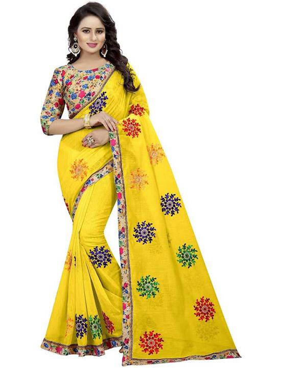 Embroidered Fashion Poly Chanderi Yellow Saree