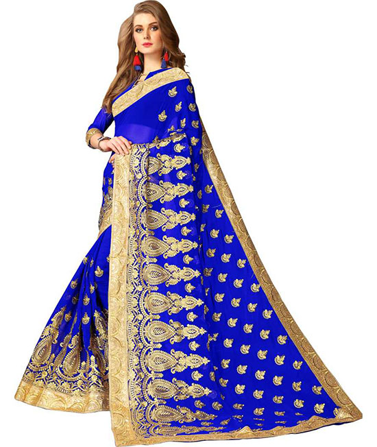 Embroidered Fashion Poly Georgette Blue Saree