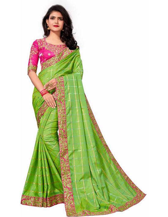 Embroidered Fashion Poly Silk Green Saree