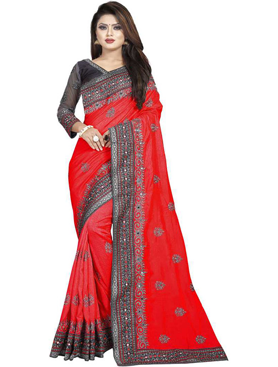 Embroidered Fashion Poly Silk Red Saree
