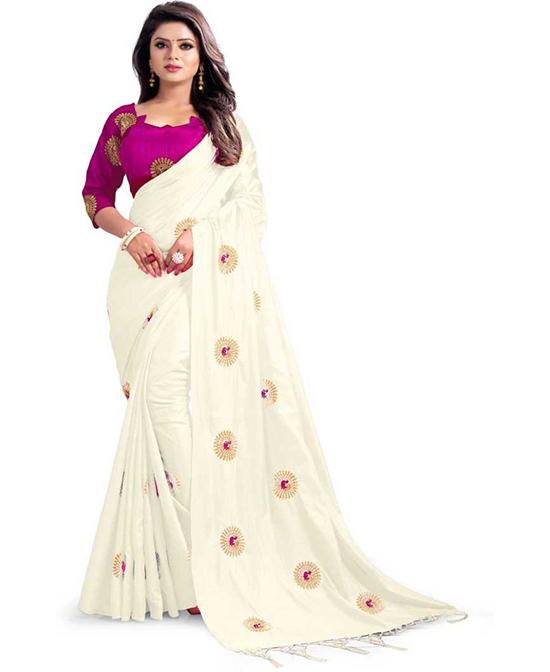 Embroidered Fashion Poly Silk White Saree