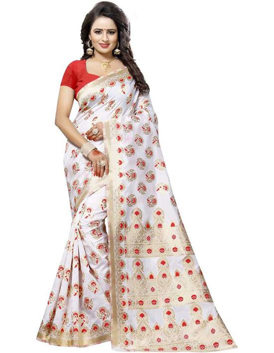 Embroidered Fashion Pure Silk White Saree