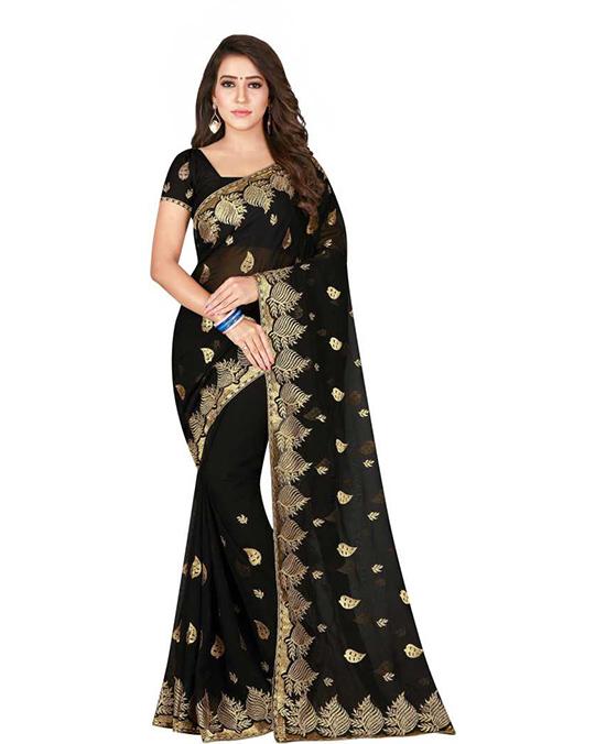 Embroidered Fashion Satin Blend Black Saree