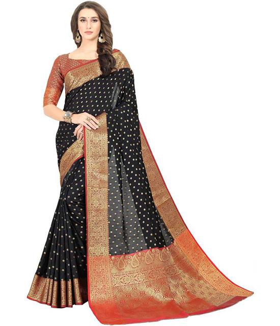 Embroidered, Woven Kanjivaram Art Silk, Cotton Silk Black Saree