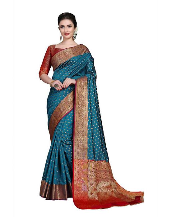 Embroidered, Woven Kanjivaram Art Silk, Cotton Silk Blue Saree
