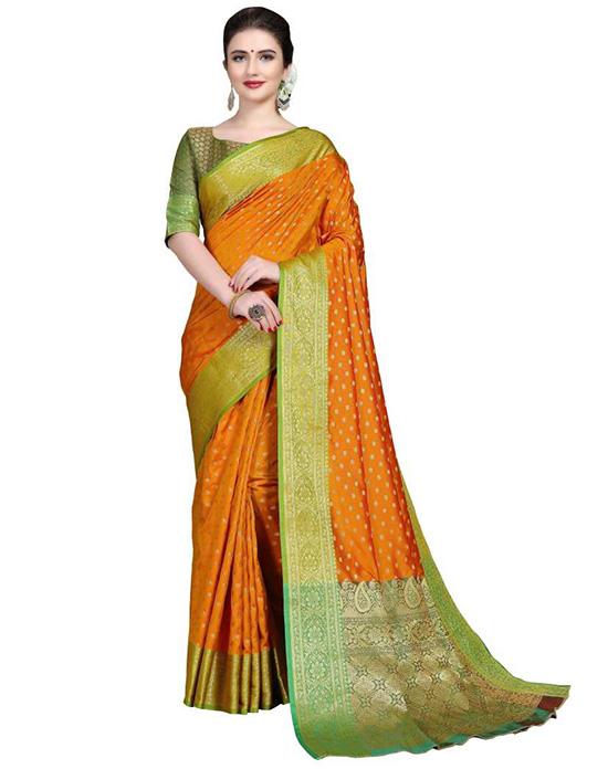Embroidered, Woven Kanjivaram Art Silk, Cotton Silk Yellow Saree