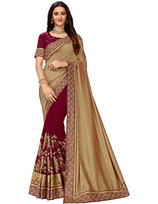 Fashion Art Silk Beige Color Saree