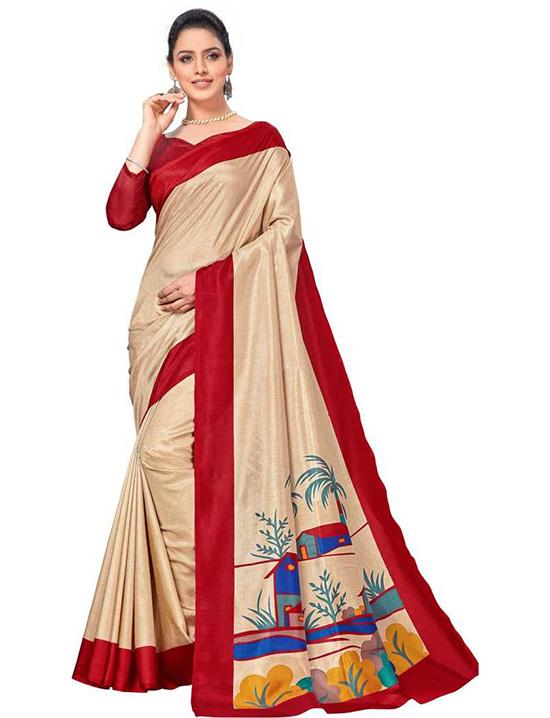 Fashion Art Silk Beige Colour Saree