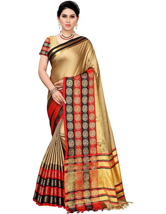 Fashion Cotton Silk Beige Colour Saree