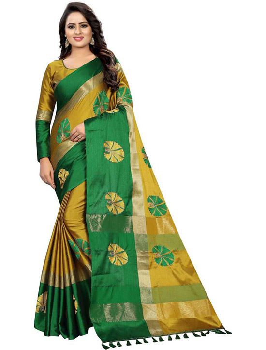 Fashion Cotton Silk Mustard Saree