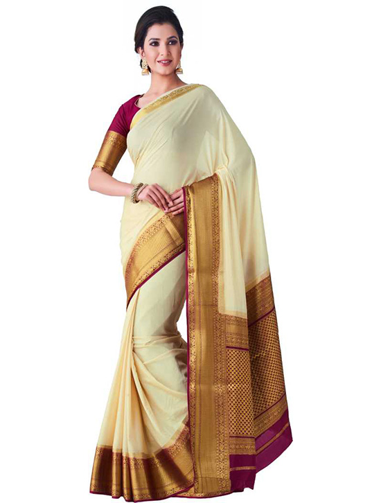 Fashion Crepe Beige Colour Saree