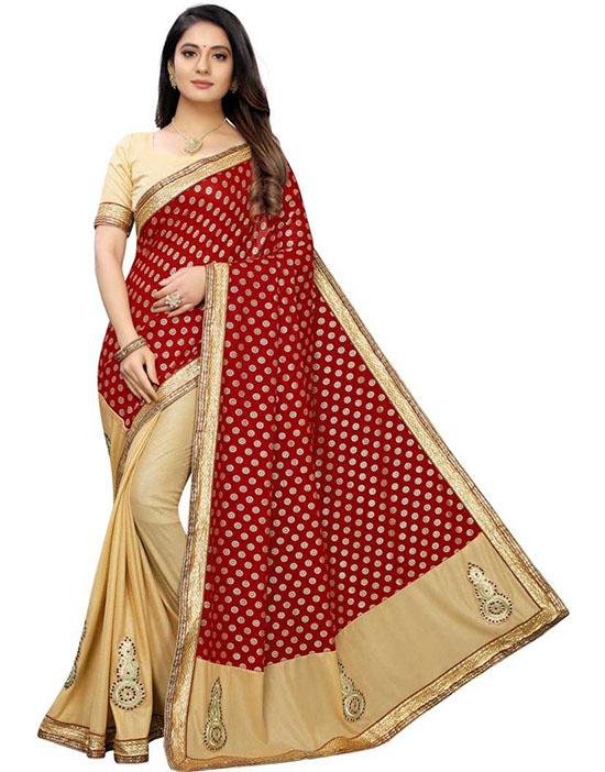 Fashion Lycra Blend Beige Colour Saree