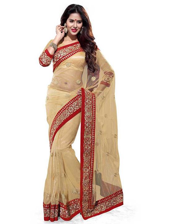 Fashion Net Beige Colour Saree